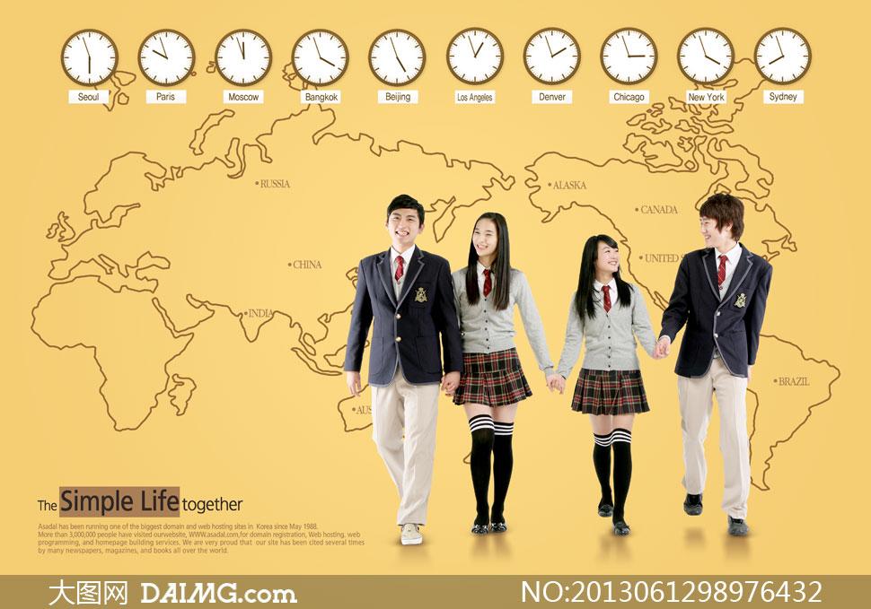 男女学生人物世界地图psd分层素材