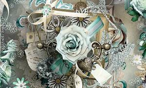 紫色玫瑰花和融图背景等图片素材