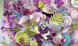 紫色花朵树叶和溶图背景等图片素材