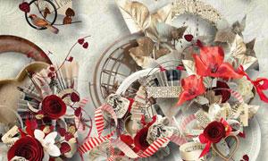 花藤相框和心形装饰等图片素材