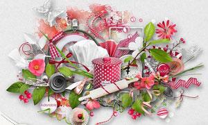 红色花朵和粉色背景等图片素材