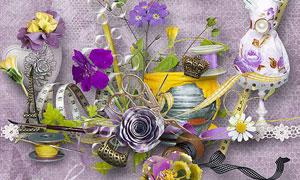 紫色花朵和蕾丝爱心等图片素材