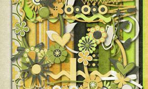 花朵心形和绿色背景等图片素材