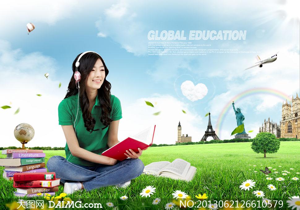 坐着看书听音乐的女孩psd分层素材