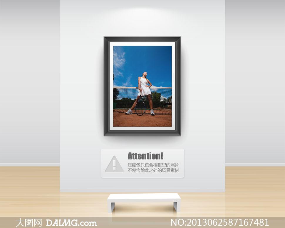 拄着球拍叉着腰的美女摄影高清图片 大图网设