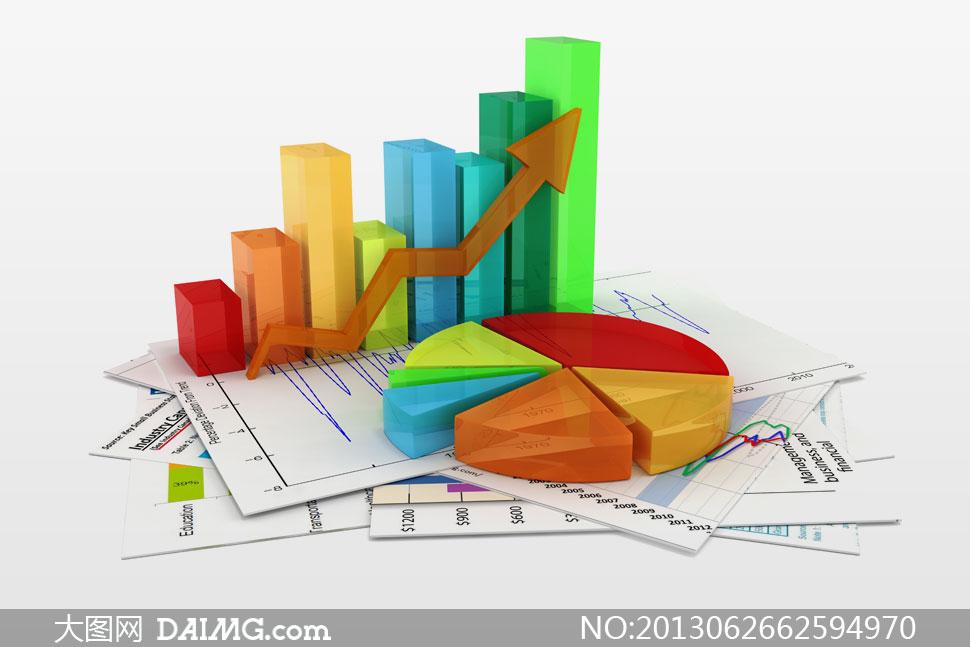 高清大图素材图片创意设计商业商务柱状图统计图图片