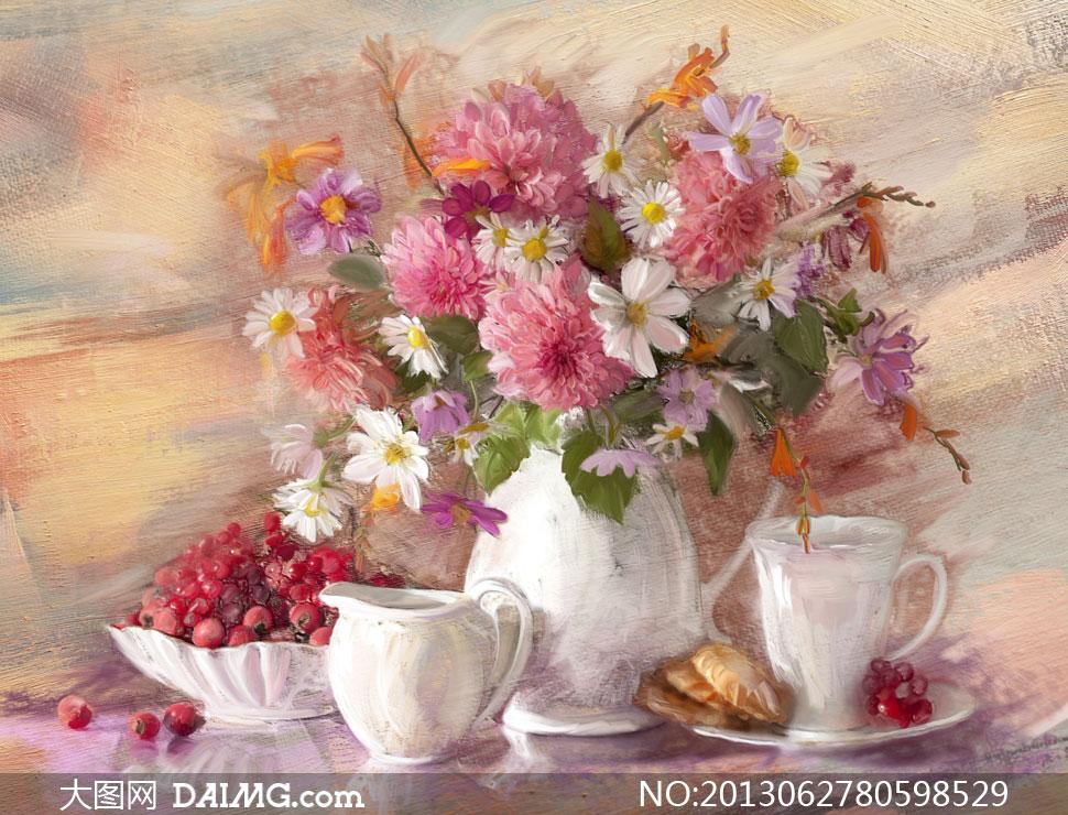 特写近景鲜花花朵花卉插花花瓶水果白花鲜艳西洋画