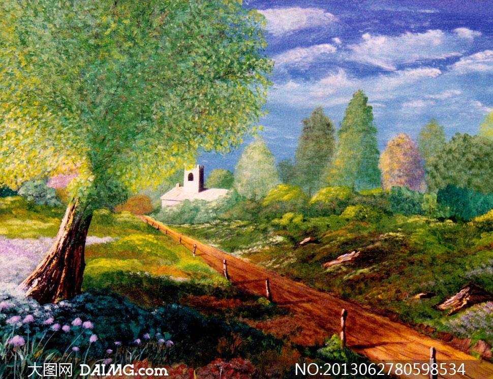 乡村房子图片_乡间小路自然风景油画作品高清图片_大图网图片素材