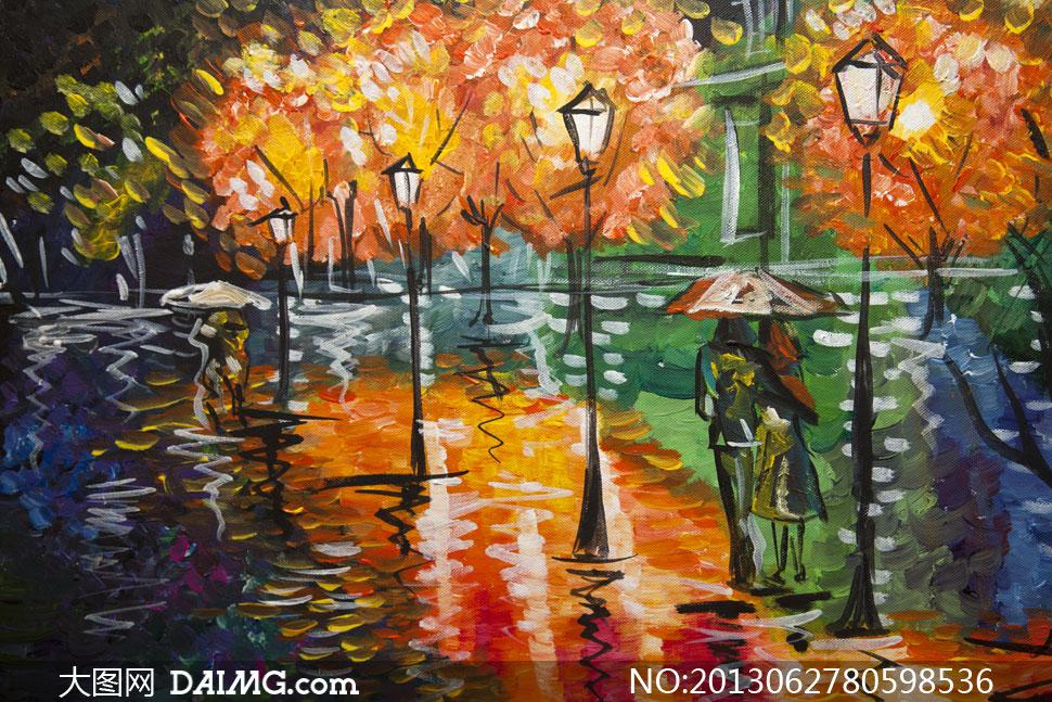 漫步在雨中的恋人绘画作品高清图片