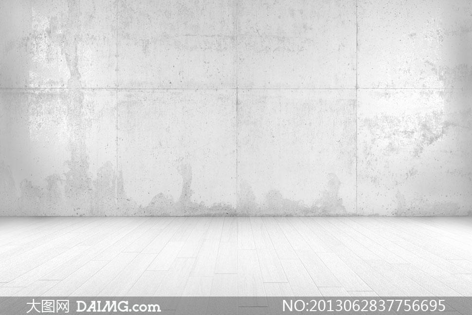 灰白色木地板与斑驳墙摄影高清图片