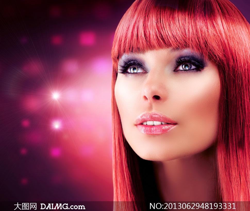齐刘海儿眼妆美女人物摄影高清图片