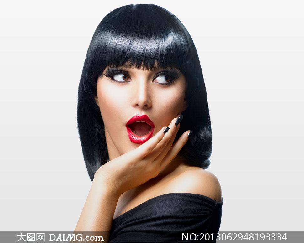浓密秀发红唇美女人物摄影高清图片