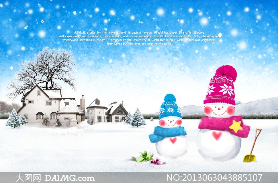 冬天雪地里的可爱雪人psd分层素材