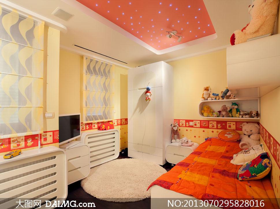 精心布置的儿童房内景摄影高清图片