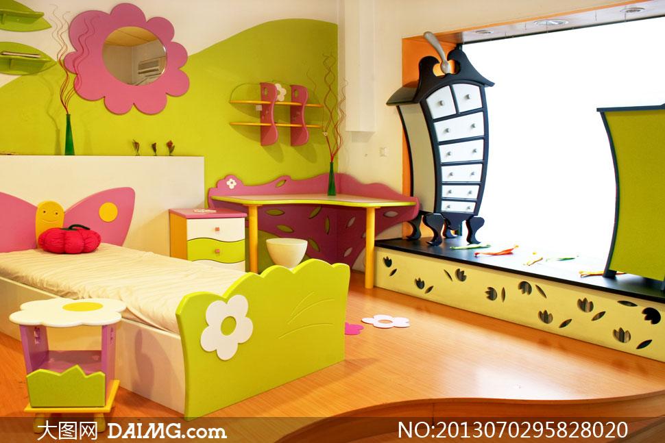 童趣可爱的儿童房内景摄影高清图片