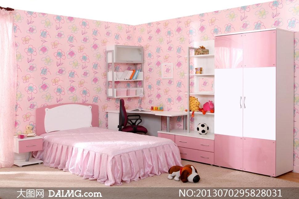 粉色的儿童房内景陈设摄影高清图片