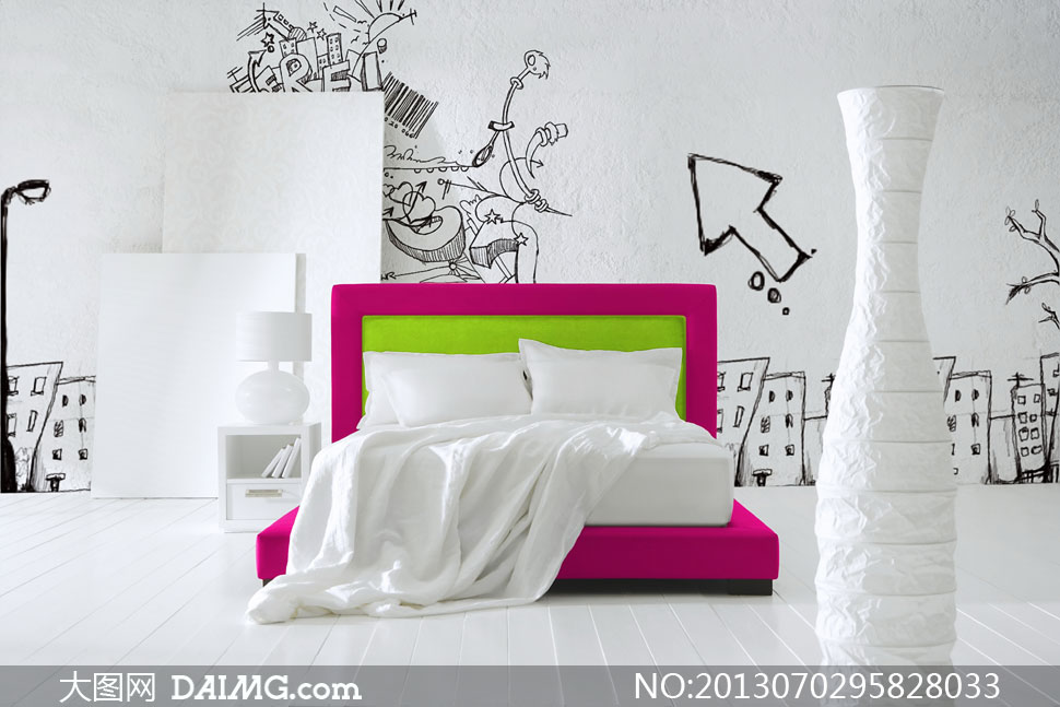 陈设摆设陈列房间手绘图案箭头床单床品床铺白色绿色
