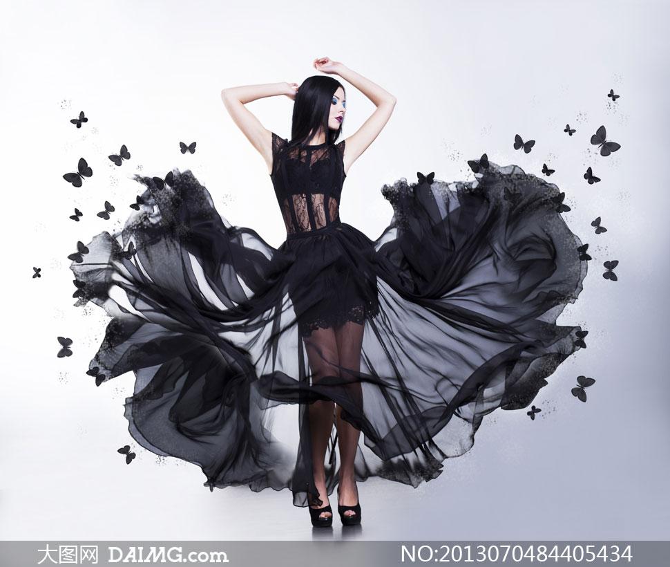 穿黑蕾丝透视装的美女摄影高清图片 大图网设