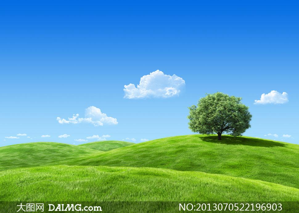 蓝天白云与辽阔的草原摄影高清图片图片