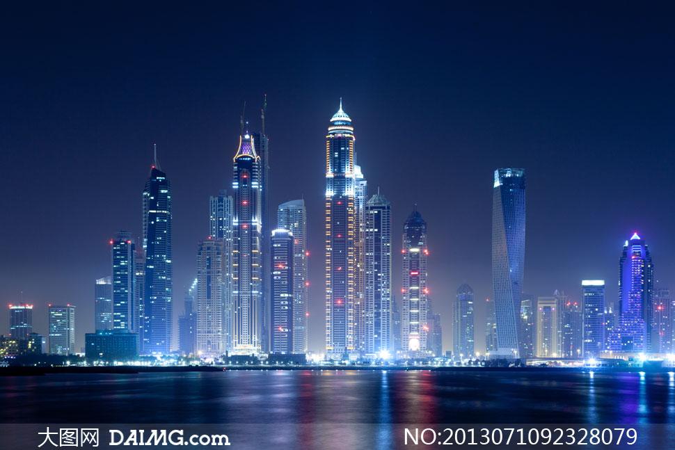 迪拜塔高清大图下载_迪拜建筑夜晚景观效果摄影高清图片 - 大图网素材daimg.com