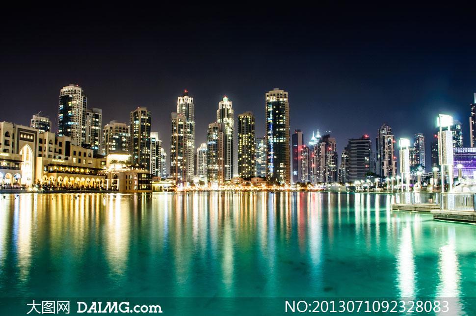 高清繁华都市大�_迪拜夜晚建筑繁华夜景摄影高清图片 大图网设计