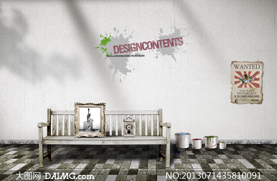 壁墙面喷溅长椅颜料桶油漆