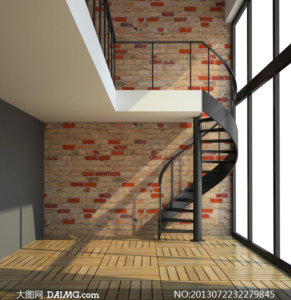 砖墙木地板与旋转楼梯摄影高清图片