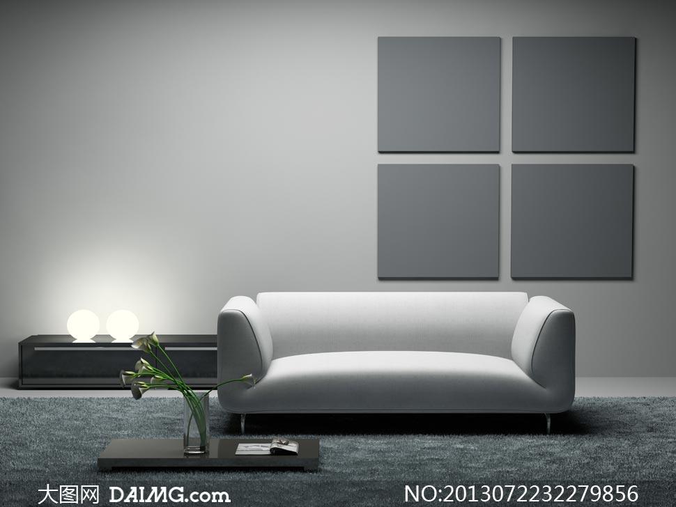 白色沙发与无框画花瓶摄影高清图片