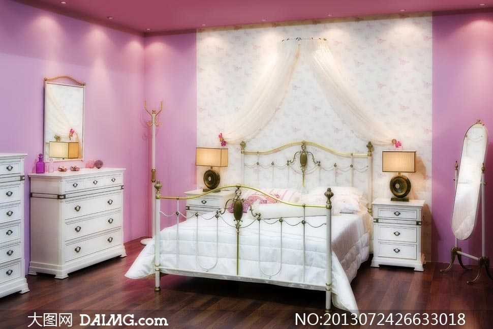 卧室床头柜抽屉柜床幔摄影高清图片