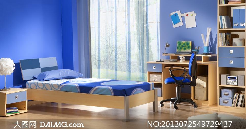 design 卧室窗帘_卧室窗帘图片素材  蓝色风格卧室家具摆设摄影高清图