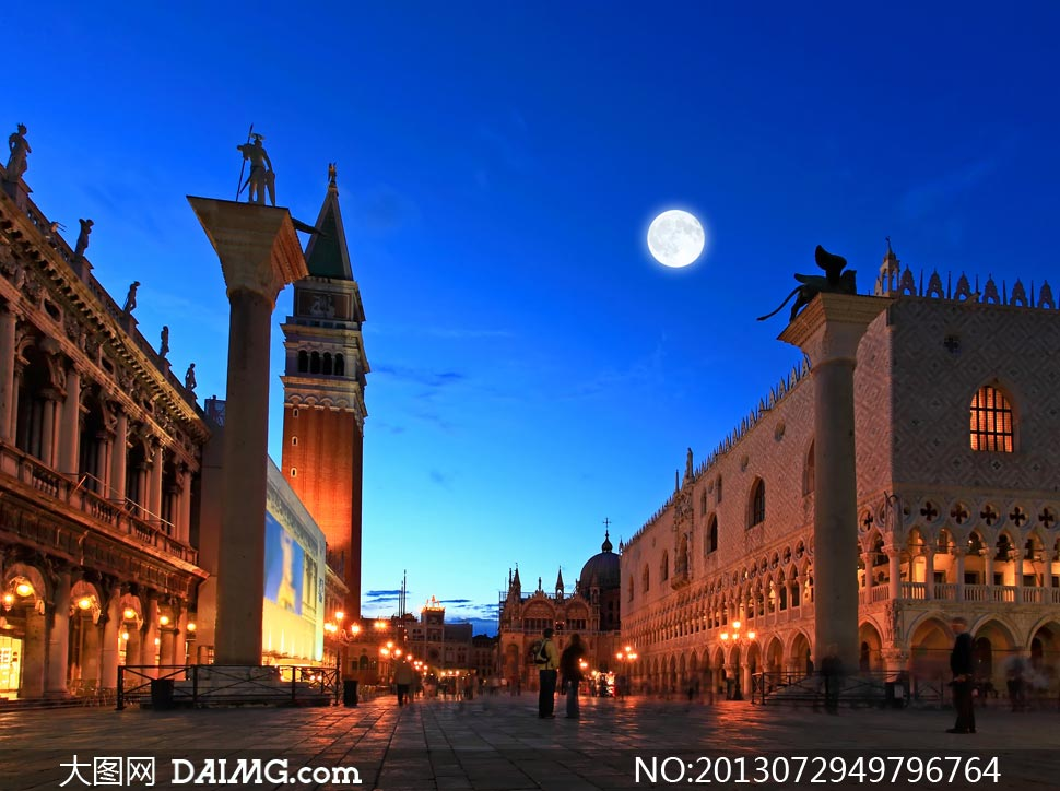 意大利圣马可广场夜景摄影高清图片