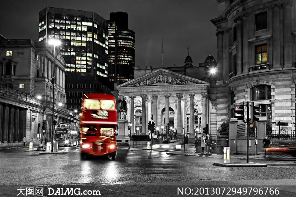 伦敦建筑物与双层巴士摄影高清图片