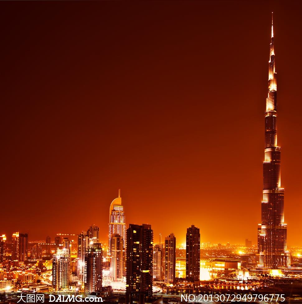 迪拜塔高清大图下载_沐浴在夜色中的迪拜塔摄影高清图片 - 大图网素材daimg.com