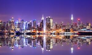 纽约曼哈顿区繁华夜景摄影高清图片