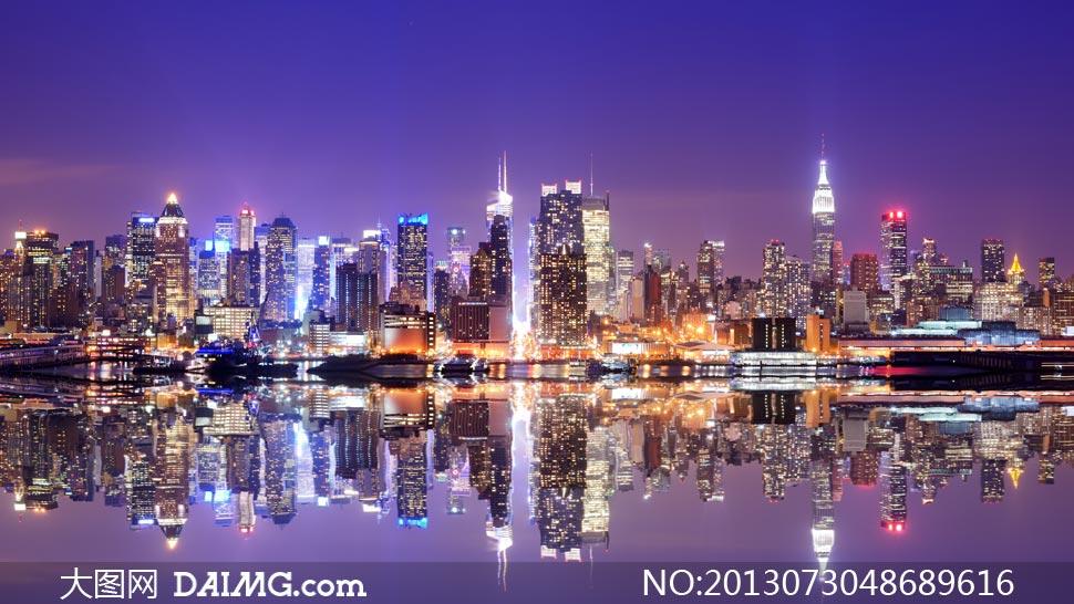 高清繁华都市大�_纽约曼哈顿区繁华夜景摄影高清图片