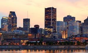 魁北克省蒙特利尔夜景摄影高清图片