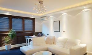 客厅沙发吊灯墙上画框摄影高清图片