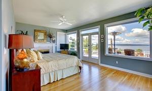 海边的景观房卧室内景摄影高清图片