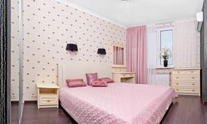 粉色卧室家具内景陈设摄影高清图片