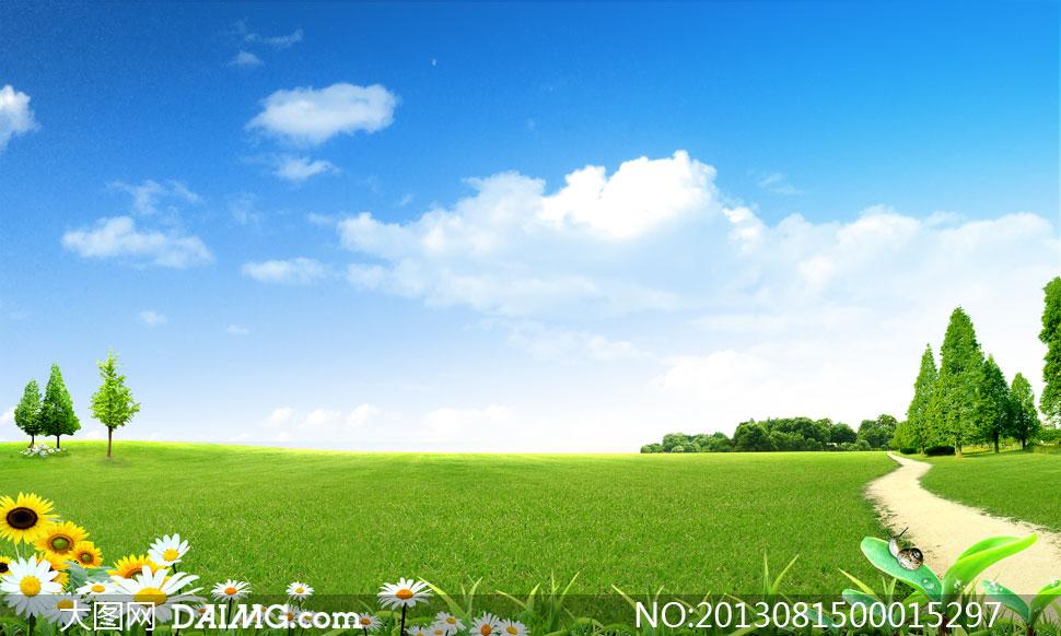 风景瀑布图片大全,绿色草原风景图片,内蒙古大草原实拍图片 蓝天白云图片