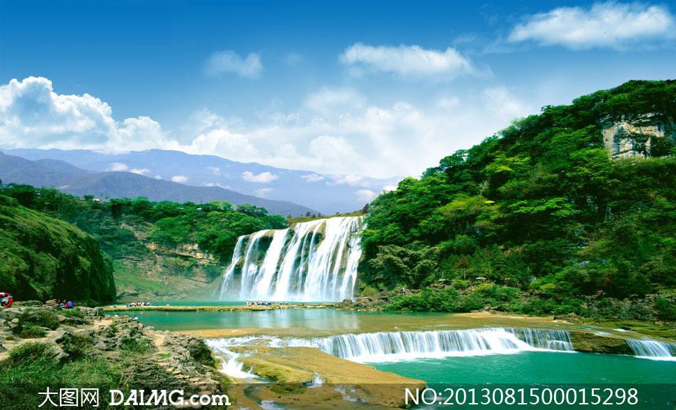 山水风景和河流瀑布PSD分层素材