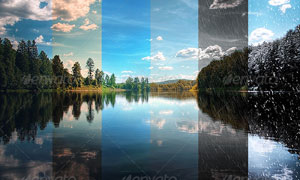 四季风景调色和气候效果PS动作