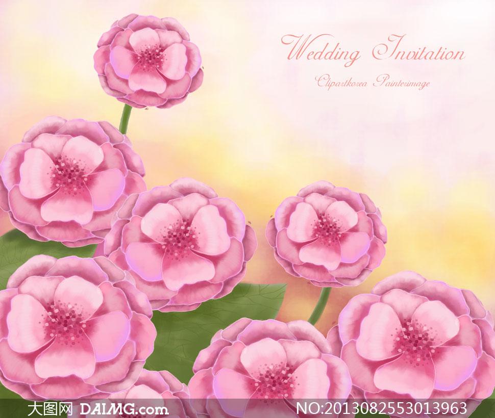 手绘风格粉色花朵图案psd分层素材