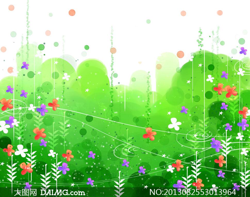 绿色水彩背景树木植物psd分层素材