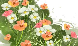 杂草花朵水彩风格图案PSD分层素材