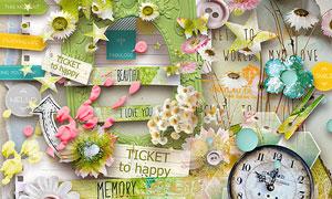 花朵树墩钟表相框等实物图片素材