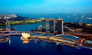 新加坡海边夜景摄影图片素材