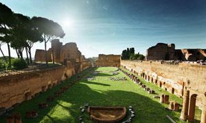 罗马斗兽场古建筑遗址摄影图片