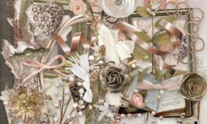 丝带纸花与蝴蝶结等欧美剪贴素材