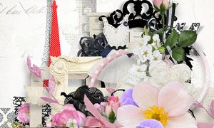 铁塔花纹边框花朵等欧美剪贴素材